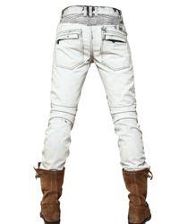 Balmain | Blue 18cm Bleached Biker Jeans for Men | Lyst