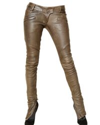 Balmain - Brown Leather Trousers - Lyst