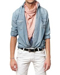 Balmain - Blue Stoned Washed Denim Shirt for Men - Lyst