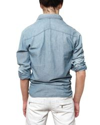 Balmain | Blue Stoned Washed Denim Shirt for Men | Lyst
