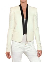 Balmain - White Satin Lapel Cool Wool Jacket - Lyst