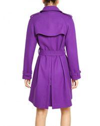 Blumarine - Purple Wool Cashmere Cloth Trench Coat - Lyst