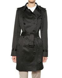 Burberry Prorsum | Black Cotton Satin Trench Coat | Lyst
