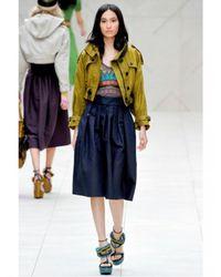 Burberry Prorsum - Blue Silk Taffeta Flared Skirt - Lyst