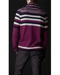 Burberry Prorsum - Purple Cowl Neck Striped Sweater for Men - Lyst