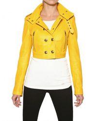 Burberry | Yellow Holmbridge Nappa Short Leather Jacket | Lyst