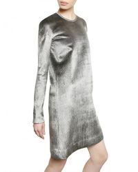 Calvin Klein - Gray Metal Trim Viscose Silk & Velvet Dress - Lyst