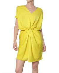 Carven | Yellow Gathered Fluid Technical Satin Dress | Lyst