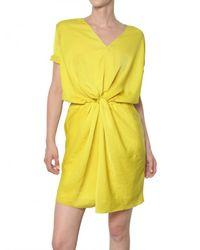 Carven - Yellow Gathered Fluid Technical Satin Dress - Lyst