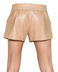 Chloé - Natural Nappa Leather Shorts - Lyst