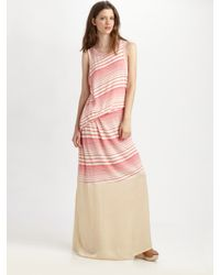 CLU | Pink Striped Crewneck Maxi Dress | Lyst