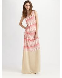 CLU Pink Striped Crewneck Maxi Dress