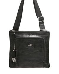 Dolce & Gabbana | Black Bufalo Flat Shoulder Bag for Men | Lyst