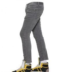 Dolce & Gabbana Gray 17,5cm Stretch Ribbed Velvet Trousers for men