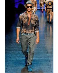 Dolce & Gabbana | Black Silk & Linen Blouse Shirt for Men | Lyst