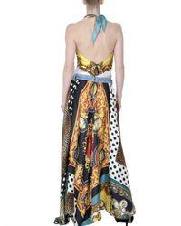 Dolce & Gabbana - Multicolor Vintage Print Satin Foulard Long Dress - Lyst