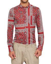 Dolce & Gabbana - Red Bandana Style Print Cotton Gauze Shirt for Men - Lyst
