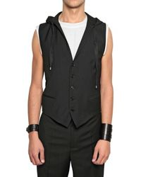 Dior Homme | Black Selvedge Hood Wool Toile Vest for Men | Lyst