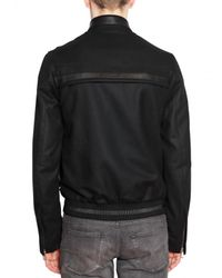 Dior Homme - Black Wool Jersey and Leather Sport Jacket for Men - Lyst