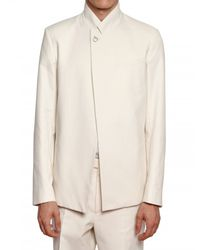 Dior Homme - Natural Cotton Viscose Toile Buckle Jacket for Men - Lyst