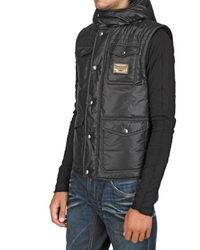 Dolce & Gabbana - Black Metal Plaque Matt Nylon Vest for Men - Lyst