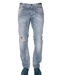 Dolce & Gabbana | Blue 19cm Distressed Denim Gold Fit Jeans for Men | Lyst