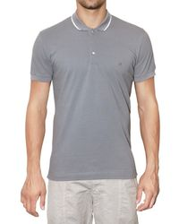 Dolce & Gabbana | Gray Contrasting Collar Cotton Pique Polo for Men | Lyst