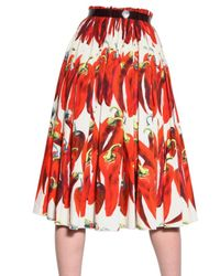Dolce & Gabbana | Multicolor Hot Pepper Cotton Poplin Skirt | Lyst