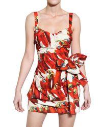 Dolce & Gabbana - Multicolor Hot Pepper Print Cotton Poplin Dress - Lyst