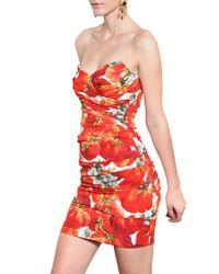 Dolce & Gabbana - Multicolor Strapless Tomato Silk Charmeuse Dress - Lyst
