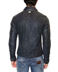 Dolce & Gabbana - Blue Washed Soft Nappa Leather Jacket for Men - Lyst