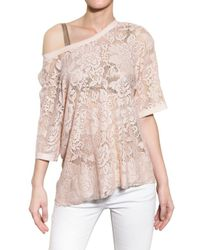 Dolce & Gabbana | Natural Satin Trim Viscose Lace Top | Lyst