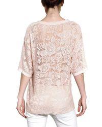 Dolce & Gabbana - Natural Satin Trim Viscose Lace Top - Lyst