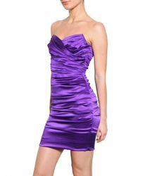 Dolce & Gabbana - Purple Stretch Silk Satin Dress - Lyst