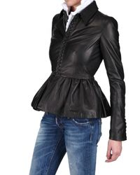 DSquared² | Black Ruffled Bottom Nappa Leather Jacket | Lyst