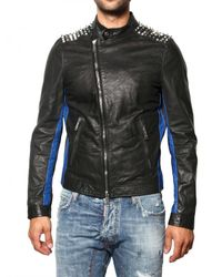 DSquared² | Black Studded Biker Style Leather Jacket for Men | Lyst