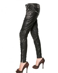 DSquared² - Black Studded Leather Biker Trousers - Lyst