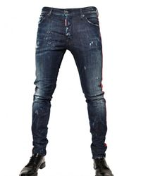 DSquared² | Blue 16,5cm Leather Side Seams Cool Guy Jeans for Men | Lyst