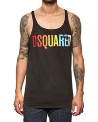 DSquared² | Brown Cotton Linen Jersey Tank Top for Men | Lyst