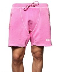 DSquared² | Pink Paint Spots Cotton Fleece Sweat Shorts for Men | Lyst