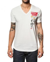 DSquared² White Cotton Jersey Muscle Print T-shirt for men