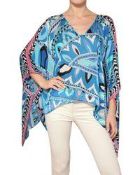 Emilio Pucci - Blue Printed Woven Silk Top - Lyst