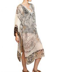 Etro | Multicolor Printed Silk Georgette Kaftan Dress | Lyst