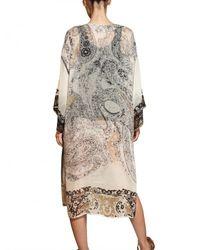 Etro - Multicolor Printed Silk Georgette Kaftan Dress - Lyst
