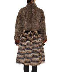 Fendi - Brown Shearling and Fox Fur Coat - Lyst