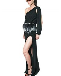 Francesco Scognamiglio | Black Feather Belt Silk Chiffon Long Dress | Lyst