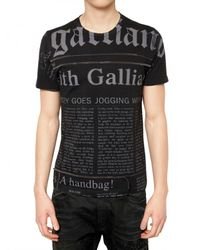 John Galliano | Black Micro Studded Gazette Jersey T-shirt for Men | Lyst