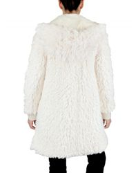 John Galliano White Hooded Faux Fur Coat