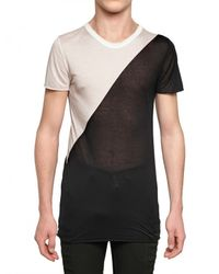 Gareth Pugh | Black Bicolored Modal Jersey Transparent T-shirt for Men | Lyst