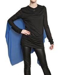 Gareth Pugh | Black Silk Chiffon Cape On Modal Jersey Top | Lyst